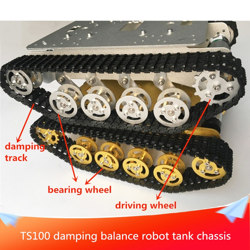 TS100 Damping Balance Robot Tank Chassis Metal Aluminum Alloy Structure Roof Can be Equipped with Metal Robot Arm DIY RC Toy