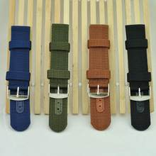 Mens Infantry Military Army Black Green Nylon Sport Wrist Watch Band Strap New for 18mm 20mm 22mm 24mm(China)
