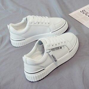 Image 3 - SWYIVY baskets vulcanisées pour femme, baskets blanches vulcanisées, chaussures à plateforme, printemps automne, à lacets