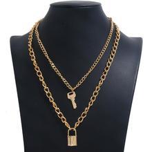 Women Alloy Punk Hip-hop Multilayer Necklace Simple Retro Key Lock Pendant Gold Silver Color