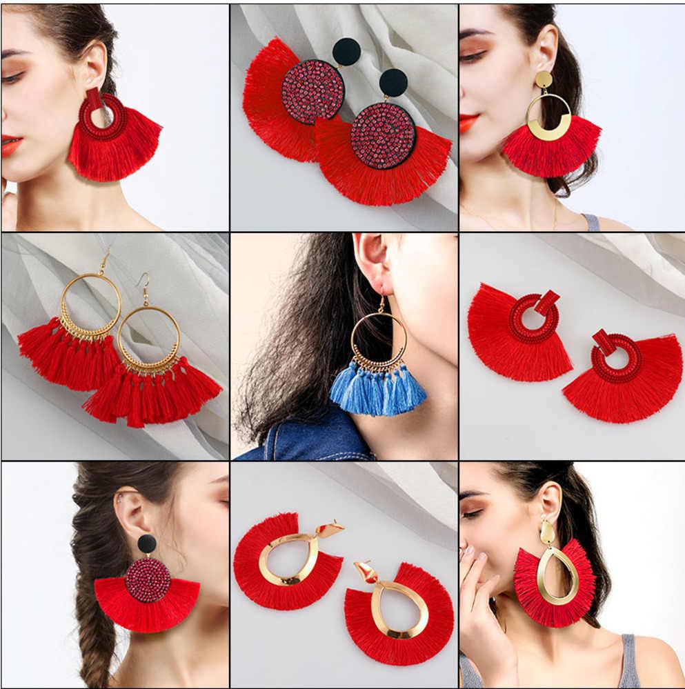 Fashion Bohemian Grote Kwastje Oorbellen Verklaring Rode Kwastje Vintage Zijden Stof Drop Dangle Earring Voor Vrouwen 2019 Sieraden Geschenken