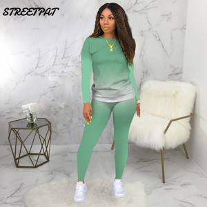 Casual Tracksuit Women 2 Piece Set Gradient Long Sleeve Sweatshirt High Waist Pants Leggings Fashion Lounge Wear Outfits
