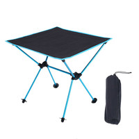 Outdoor Portable Lightweight Folding Table Camping Tisch Aluminium Alloy Picnic Fold Tavel Furniture Tourist Blue Tables Kamp Outdoor Tables    -