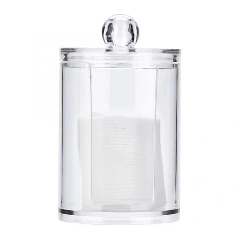 Round Clear Acrylic Makeup Cotton Pad Swab Holder Makeup Cosmetic Storage Organizer Box Makeup Tools Pakistan