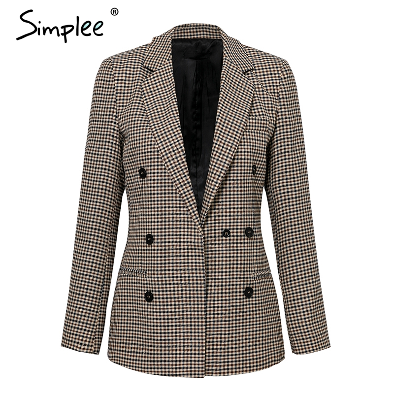 Simplee Fashion double breasted plaid blazer Female long sleeve office ladies blazer 2018 Autumn jacket women