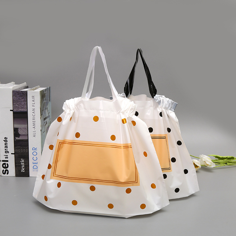 50pcs Thick Large Plastic Bags matte Black Round Dots With Handles Wedding Party Gift Packaging Bag Clothing Store Shopping Bag