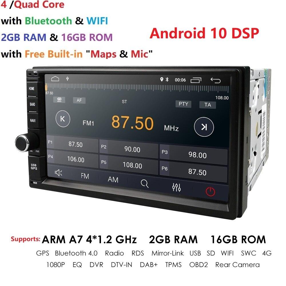 2 Din 7 ''четырехъядерный Универсальный Android 10 2 Гб RAM автомобильное радио стерео GPS навигация WiFi 1024*600 сенсорный экран 2din автомобильный ПК USB карт...