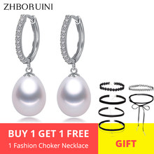 ZHBORUINI 2019 Pearl Earrings Genuine Natural Freshwater Pearl 925 Sterling Silver Earrings Pearl Jewelry For Wemon Wedding Gift(China)