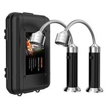 2 pçs portátil magnético led grill lâmpada de luz 360 graus ajustável para churrasco churrasqueira grelhar luzes ao ar livre ferramentas iluminação
