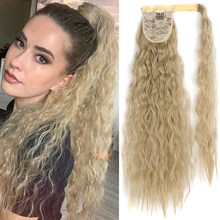 Длинные Синтетические накладные волосы XINRAN, кукурузная накладка на хвост, зажим для конского хвоста, натуральный головной убор, зажимы для ...