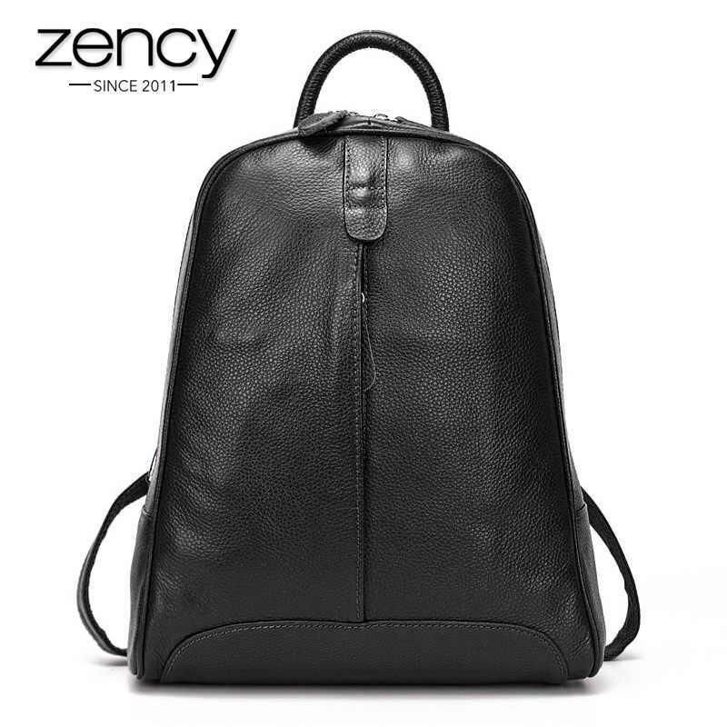 Zency 100% moda feminina de couro genuíno mochila de viagem casual estilo preppy menina mochila notebook portátil