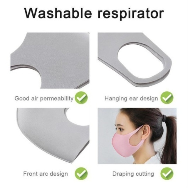 Washable Anti-PM 2.5 Mouth Mask for Adult/Kids Outdoor Protective Mask Anti-flu Filter Respirator 2