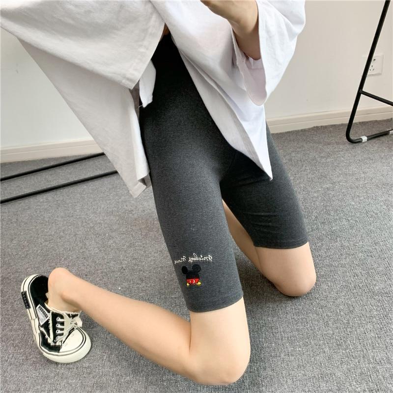 Mickey cartoon embroidery women's cotton leggings five-point leggings letter embroidery high-waist women's sweatpants