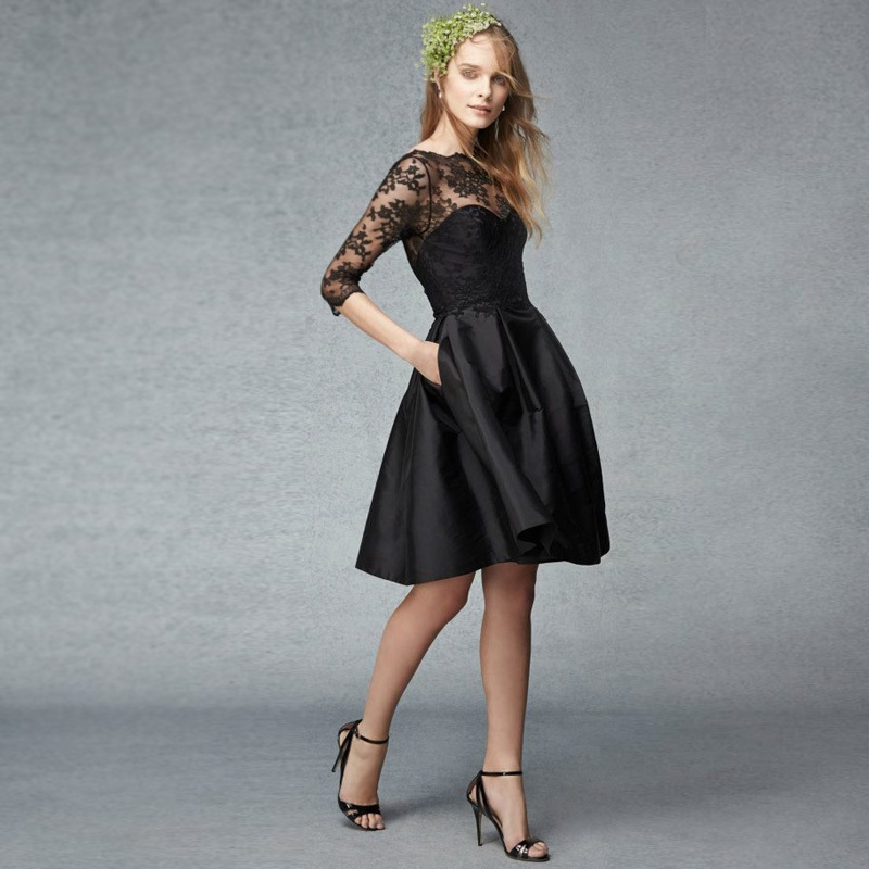 Three-quarter Sleeves Black Lace Short 2018 New Fashion Taffeta A-line Knee-length Handmade Party Prom Gowns Bridesmaid Dresses