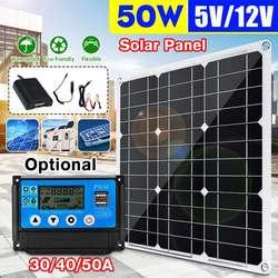Panel słoneczny 50W podwójne wyjście USB Panel słoneczny z ogniwami słonecznymi z kontrolerem 10/20/30/40/50A do ładowarki samochodowej 12V/5V