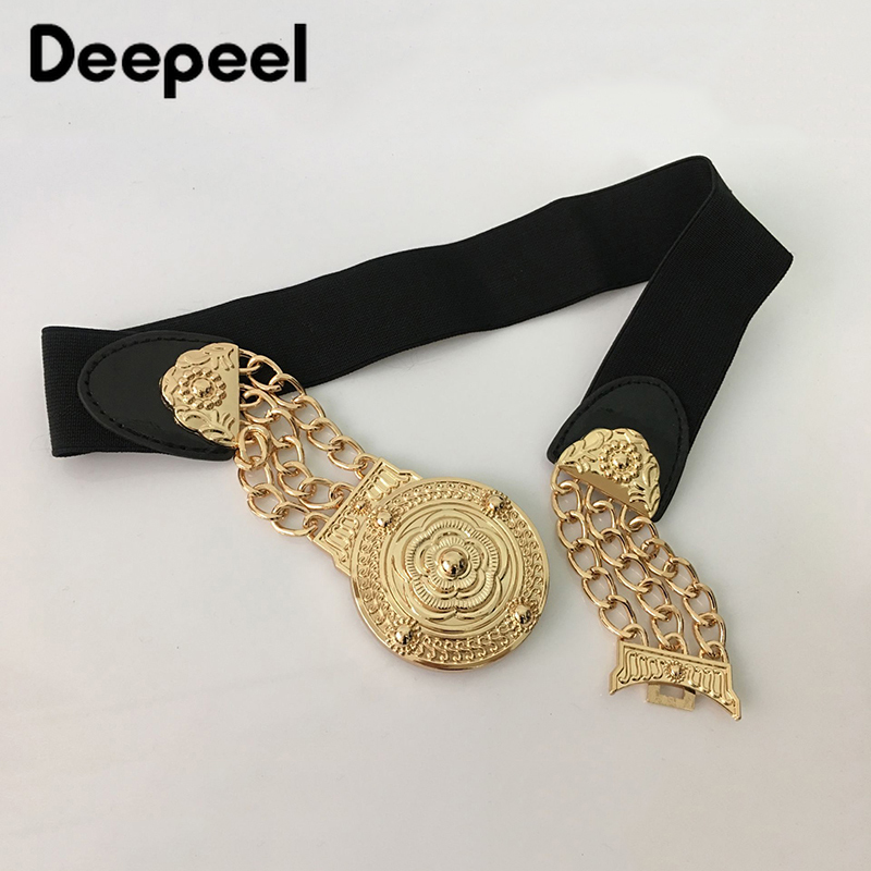Deepeel 1pc Fashion Metal Wide Belt Elastic Cummerbunds Chain Flower Waistband Decoration Waist Chain Costume Accessories CB052
