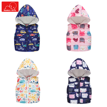 girl winter fashion Sleeveless jacket children cartoon Print hooded Tops coat Outwear kids  warm clothes  Vest Jacket недорого