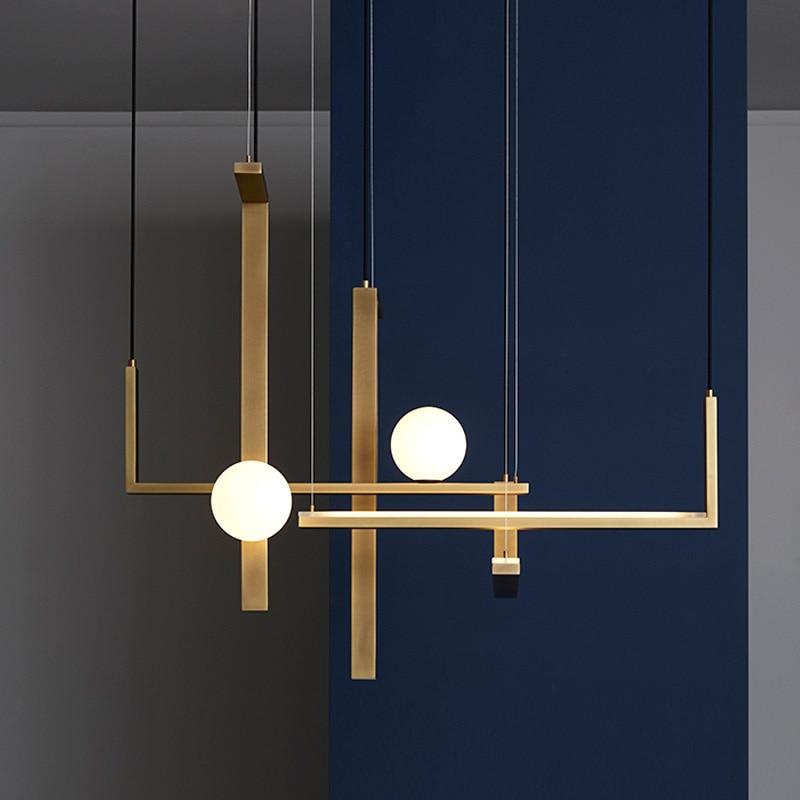 E14 Simple LED Pendant Lights Postmodern Glass Ball Lighting Hanging Fixtures For Dining Living Room Deco Designer Pendant Lamp