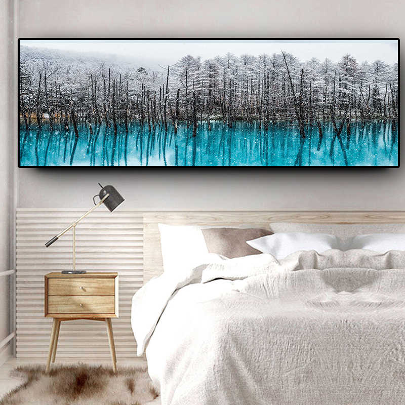 Nordic Snow Forest Abstract Oil Painting on Canvas Scandinavian Posters and Prints Cuadros Wall Art Picture for Living Room