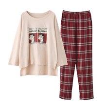 Frauen Hause tragen Lange Hülse frühling überprüft Pyjamas Sets wein rot plaid Baumwolle Nachtwäsche mädchen indoor kleidung weibliche house