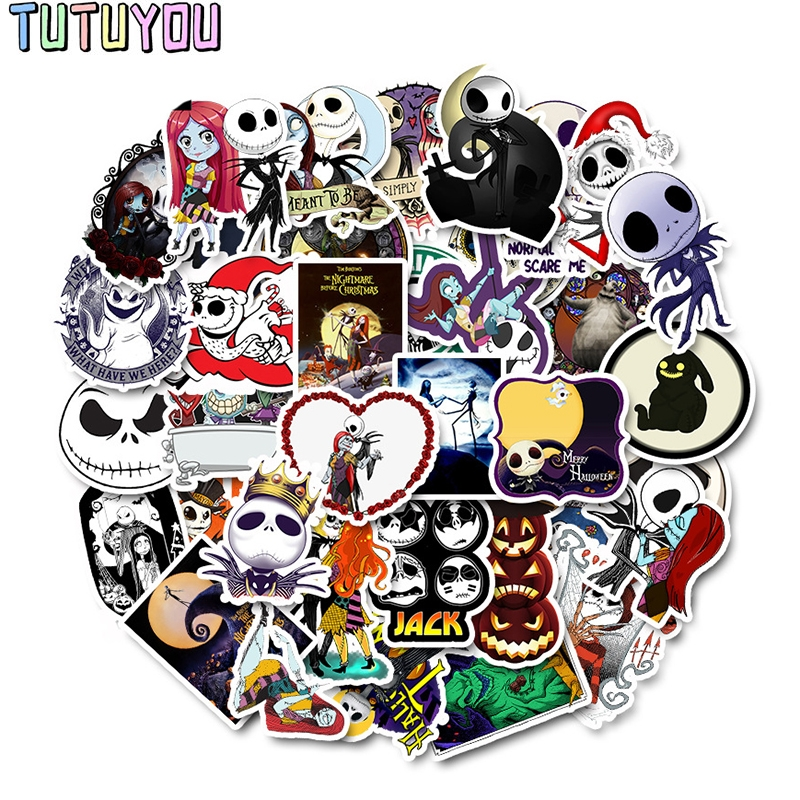 PC271 50pcs The Nightmare Before Christmas Halloween Sticker For Laptop Moto Skateboard Luggage Guitar Decal Toy Stickers