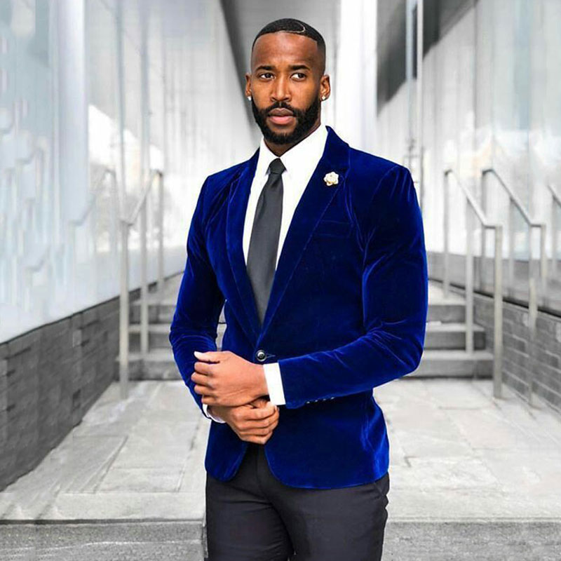 Royal Blue Velvet Smoking Jacket Costume Homme Suit Men Wedding Groom Tuxedo Best Man Blazers 2Piece Slim Fit Terno Masculino