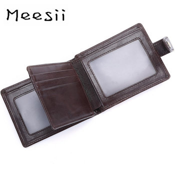 Meesii Men Wallets Small Leather Slim Wallets Credit Card Holder Business Male Purse Leather Bifold Short Wallets Smart Purse фото