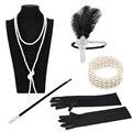 1920s Great Gatsby Party Kostüm Zubehör Set 20s Flapper Feder Stirnband Perle Halskette Handschuhe Zigarette Halter 5 Pcs set