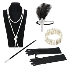 1920s Great Gatsby Party Costume Accessories Set 20s Flapper Feather Headband Pearl Necklace Gloves Cigarette Holder 5 Pcs Set