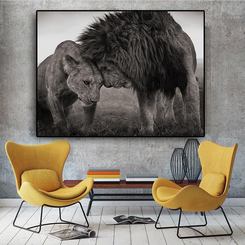 Диви животни Лъв Плакат Арт Печат Снимки на стена Скандинавски Черно и бяло платно Живопис Хол Минимализъм Изкуства Начало Декор