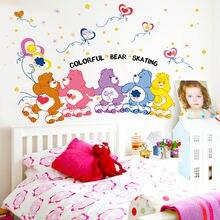Красочные наклейки на стену с мультяшным медведем для детской