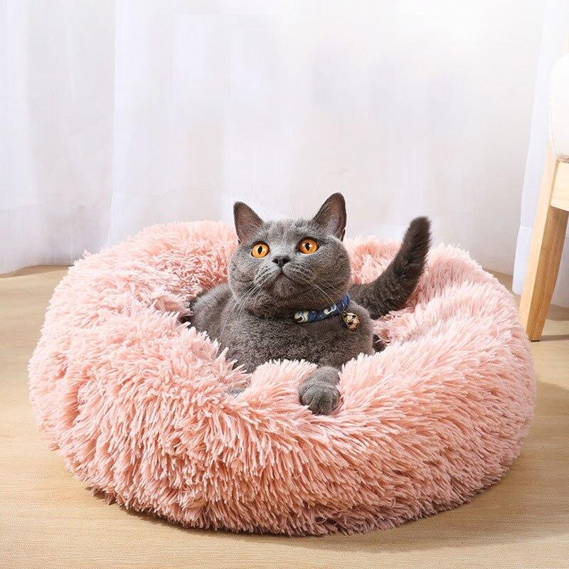 Gato cama Casa de felpa larga redonda Super suave para mascotas cama de perro invierno cálido saco de dormir cachorro para perros nido productos gato Mat
