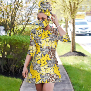 2020 African print dress outfit for women dashiki top shirts+headwrap+mask headband traditional party dress plus size