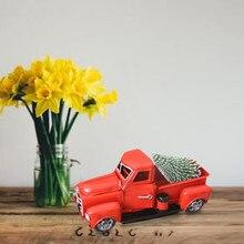 Vintage Navidad rojo Metal camión ruedas Mesa decoración niños hierro rojo camión juguete vehículos Navidad carnaval decoración regalo