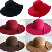 Vintage de las mujeres chica de moda de ala ancha Floppy sombrero de fieltro de lana de bolos de Cloche