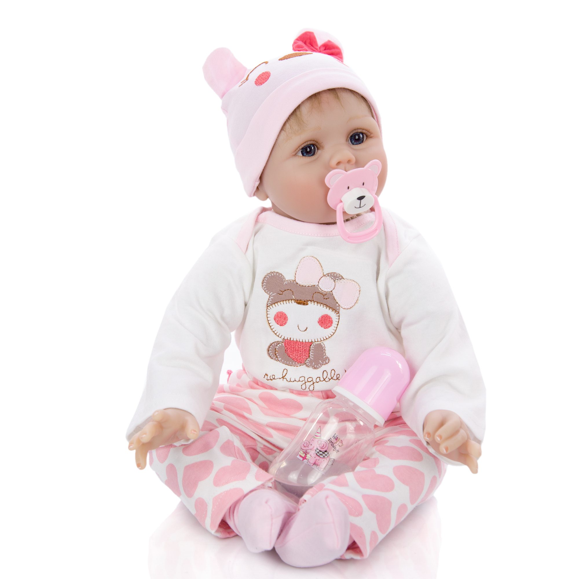 "Lifelike 22/"" Toddler Reborn Baby Dolls Rooted Silicone Vinyl Newborn Baby Doll"