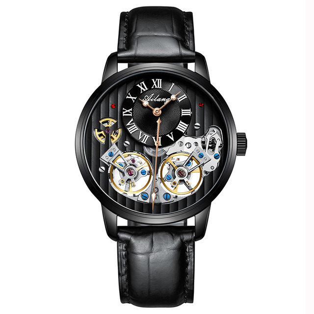 Top Luxury Brand Double Tourbillon Men's Watch Automatic Mechanical Quality Watches Mens Waterproof Men Watch Leather male 2019 | Fotoflaco.net