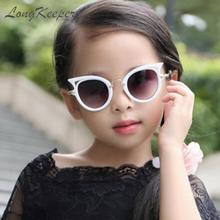 Longketter детские солнцезащитные очки для девочек брендовые Детские очки с кошачьими глазами UV400 линзы детские солнцезащитные очки милые очки оттенки очки
