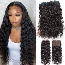水波バンドルと閉鎖 100% レミー人間の髪 3 バンドルと閉鎖ブラジルヘアエクステンションため Alibele 髪