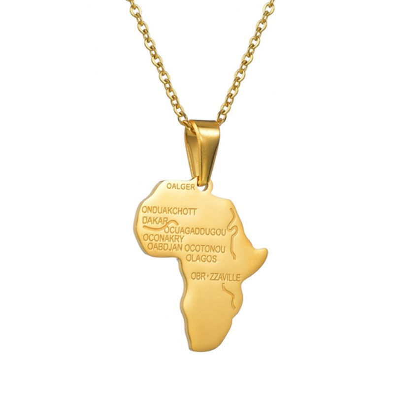 Top Quality Stainless steel Gold Color Africa Map Pendant Chain Necklaces African Maps Jewelry for Women Men Dropshipping