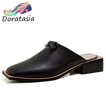 DORATASIA Classic Girl Square Toe Slip On Sewing Office Casual Pumps Summer Mules Women 2020 Leisure Solid Shoes Woman