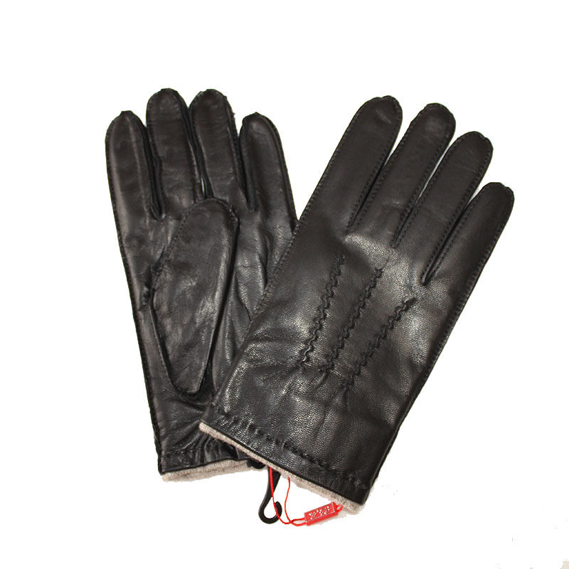 Leather Gloves Men's 2019 New Goatskin Gloves Outer Seams Wool Lining Autumn And Winter Large Size Warm Driving Gloves