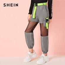 SHEIN/Детские неоновые брюки-карго с пряжкой и сетчатой вставкой, с поясом, для девочек; коллекция года; сезон осень; серые брюки с эластичным поясом и карманами по бокам