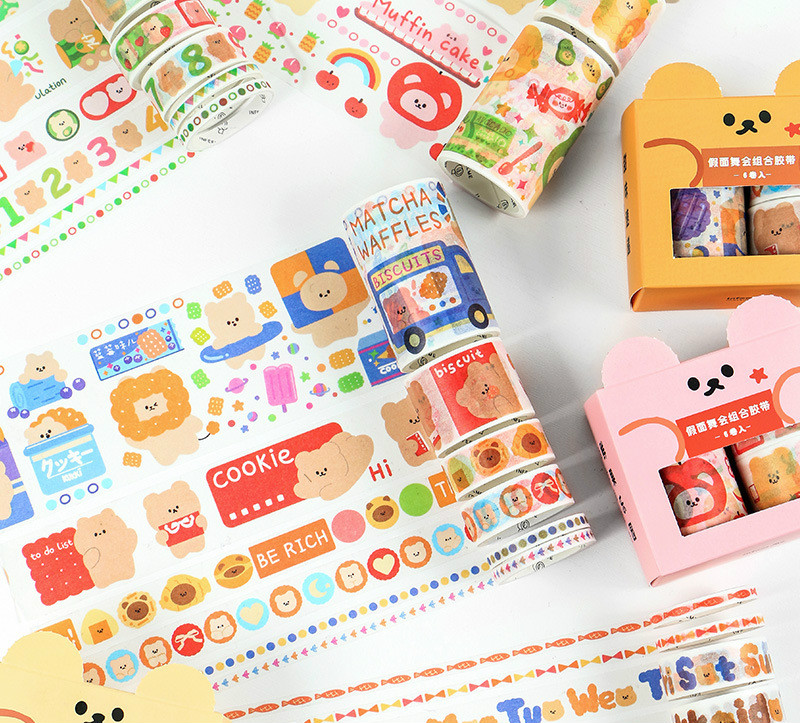 6 Rolls A Pack Cute Cartoon Bear Friends Washi Tape Set 5mm/15mm/30mm*2M