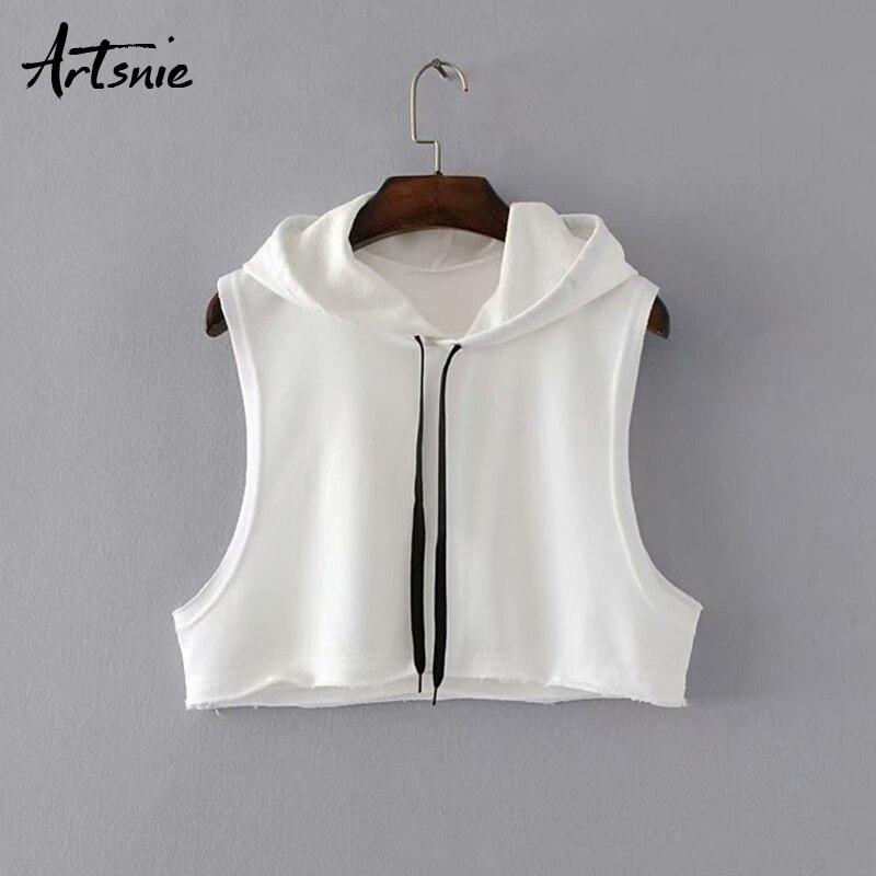 Artsnie white casual crop tops women summer 2019 streetwear hoodies cropped feminino knitted sleeveless tank tops mujer serveware