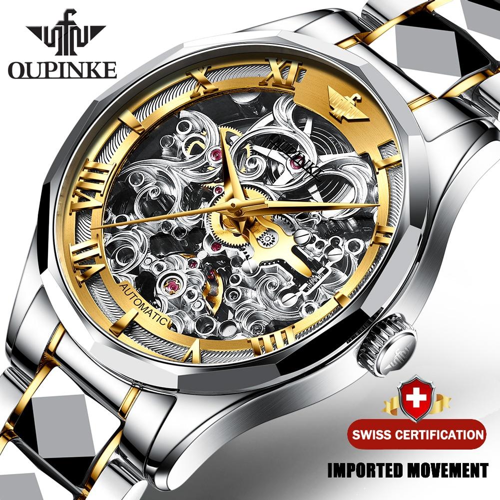 Automatic Watch Mechanical-Wristwatch Skeleton OUPINKE Men Tungsten Luxury Steel 3169