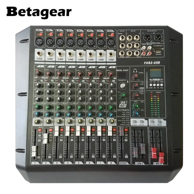 Betagear 8 Channel Mixer audio FX82USB rack mount studio mixer console recording studio equipments mini mixer dj equipements