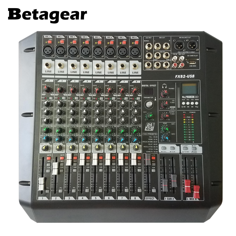 Betagear 8 Kanal Mixer audio FX82USB rack montieren studio mixer konsole aufnahme studio ausrüstungen mini mixer dj equipements