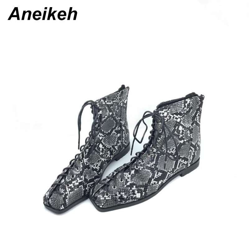 Image 2 - Aneikeh Women Zipper Boots Snake Print Ankle Boots For Women Flat Casual Shoes Lace Up Female Boots Party Shoes zapatos mujer-in Ankle Boots from Shoes