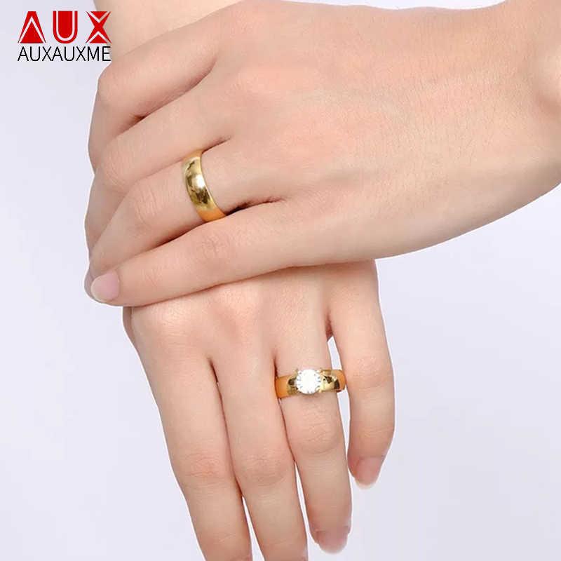 Auxauxme Shining Cubic Zircon Lover หมั้นแหวนสแตนเลสสตีลแกะสลักชื่อวันที่แหวนคู่ผู้หญิงผู้ชาย